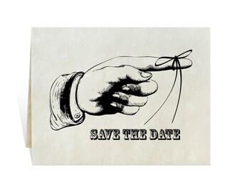 Save the date invitation card art kit printable for wedding, retirement party, celebration, vintage style pointing finger, string reminder