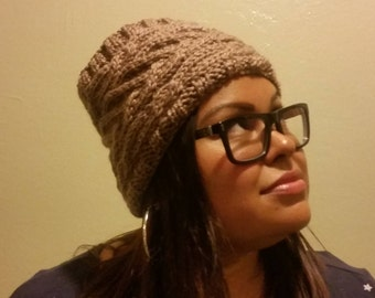 Cable Bunless Hat-Taupe