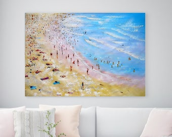 "63"" Large Original Beach Art, Oil Painting, Canvas Wall Art, Big Beach Painting, People, Seascape, Landscape, Ocean, Summer, Sunny Painting"