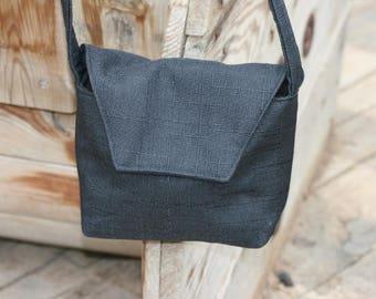 Linen + Polyester Shoulder Bag,Crossbody Upholstery fabric Handbag, Upholstery fabric Shoulder Bag, Handmade Bag,  Black Shoulder Bag,