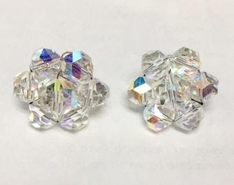 Vintage Signed Laguna Sparkling Aurora Borealis Crystal Beaded Clip On Earrings
