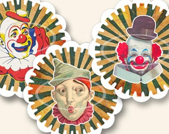 Circus Clown Digital Toppers, Printable birthday party Stickers, Circus Labels, Circus Party favor, clip art, Cards, Tags, craft supplies