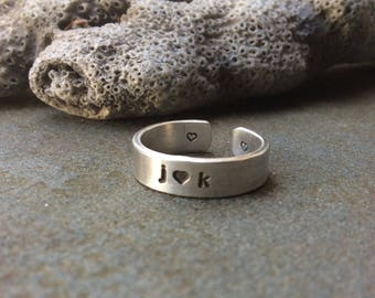 Sterling silver ring,  Couples ring, Love ring, Personalized ring,  Hand stamped initial ring