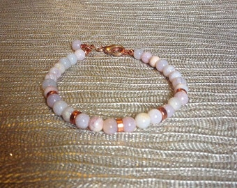 Rose gold bracelet - natural pink opal crystal bracelet  - pink gemstone bracelet  - birthday gift - October birthstone jewelry