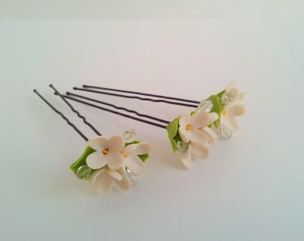 Bridal hair flowers  Wedding flower pins Wedding hair accessories Ivory flower hair pins ( set of 3 )