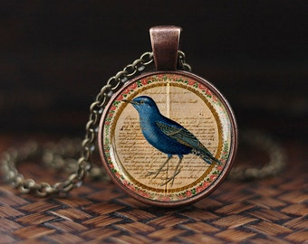 Blue Bird Necklace, Birds Jewelry, Bird Necklace, Victorian Birds Pendant, vintage bird necklace, Antique Art Blue Bird Necklace