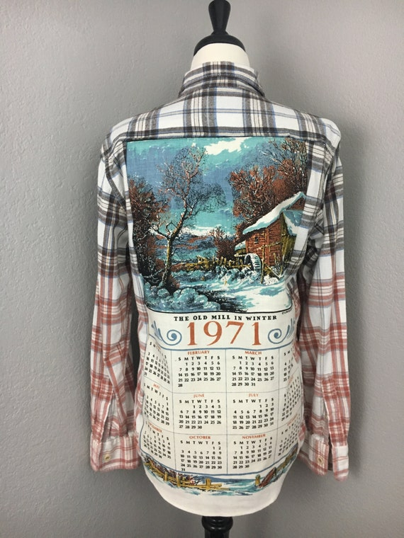 Upcycle Retro Tea Towel Flannel Shirt. Unisex Retro Flannel Shirt. 4UvvzNtd