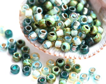 10g Toho Seed Blue Green Beads Mix - Golden Ocean - MayaHoney Special Mix, 6/0 size, hybrid japanese rocaille beads - S1128
