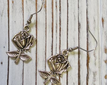 Rose Charm Earrings , Dangle Earrings, Silver Color Roses