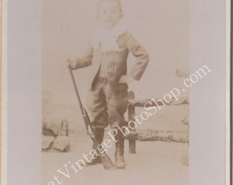 Vintage Cabinet PhotographYoung Boy with a Riffle