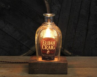 Elijah Craig Barrel Proof Bottle Lamp, Features Reclaimed Wood Base, Edison Bulb, Twisted Cloth Wire, In line Switch, & Plug, Handmade Light