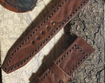 Leather Watch Strap 22mm Handmade Genuine Leather watch band AMMO #207