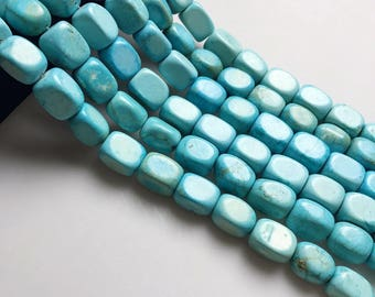 Blue Magnesite Gemstone Rectangle Approx 14x20mm 15.5 Inch per Strand. I-TUR-0119