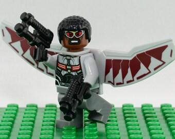 Falcon Custom minifigure (Lego Compatible) Marvel Comics Sam Wilson Superhero Avengers Side Kick Captain America Civil War Christmas 3