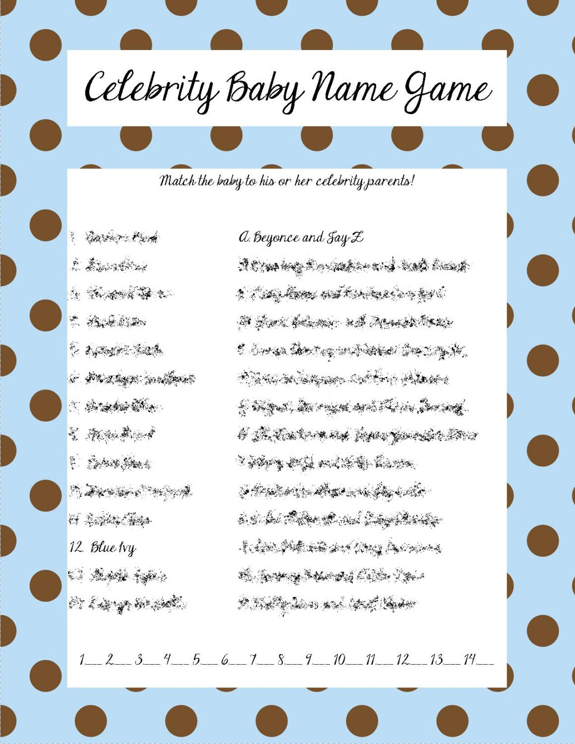 Celebrity Baby Name Game Blue Brown Polka Dots
