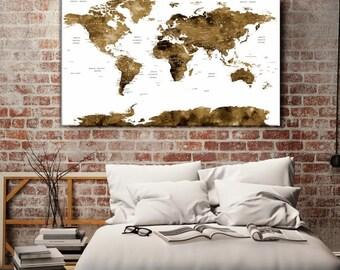 World Map Push Pin, World Map Wall Art, World Map Push Pin Sepia Wall Art Canvas Print, World Map Push Pin Travel Wall Art Canvas Print