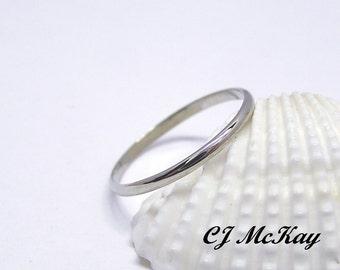14K White Gold Wedding Band, Dainty Wedding Band, Gold Dainty Wedding Ring, Small Dainty Wedding Ring, 14K Wedding Band, 14k Gold Ring CR46Q
