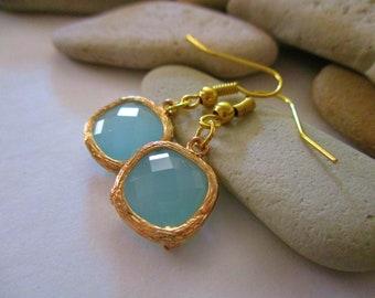 Aqua Blue Glass Earrings | Aqua and Gold | Dangle Earrings | Fishhook Earrings | Aqua Earrings | Aqua Blue Earrings | Square Earrings | Aqua