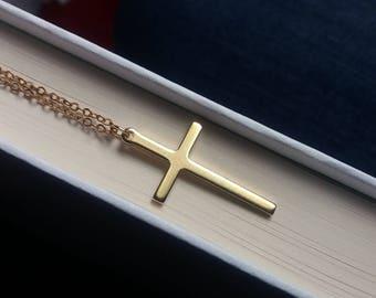 Gold Cross Necklace. Long Cross Necklace. Cross Jewellery. Layering Cross Necklace