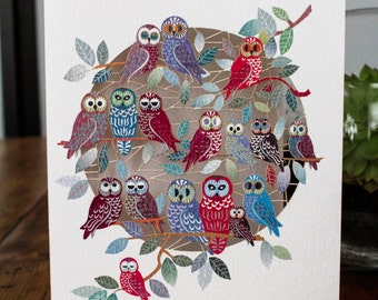 Owls on Tree Laser Greeting Card - luxury laser cut-out -made in England