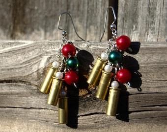 Christmas 22 ammo bullet shell casing earrings dangle red bead white bead green bead