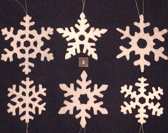 Handmade 'Snowy' Glass Snowflakes (set of 6)