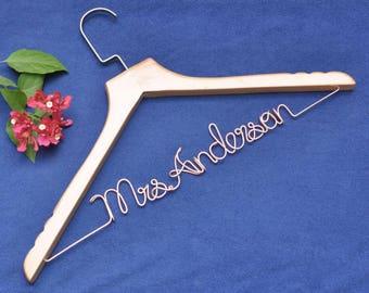 Wedding hanger bridal shower gift bridesmaid name hanger