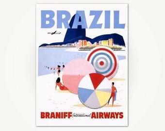 Brazil Travel Poster Print - Ipanema Beach, Rio De Janeiro, Brazil - Mid Century Travel Poster Art
