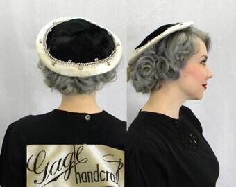 50s Black Velvet Fascinator Hat | White brim Black Saucer Hat | Rhinestone Trimmed Tilt Hat | Gagle Handcraft