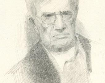 Original Portrait Drawing of Male Figure - Artist Clifford Wilton