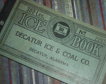 Vintage 1930's Ice and Coal Coupon Booklet Ephemera Altered Art Assemblage Mixed Media Scrapbooking