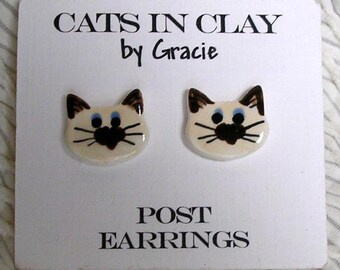 Siamese Cat Post Earrings Stud Earring Handmade In Kiln Fired Clay by Gracie