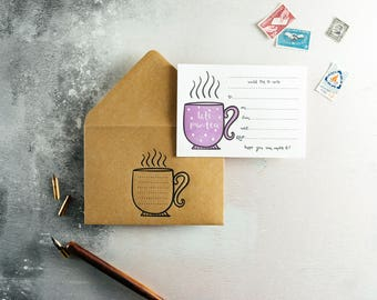 Let's Par-tea Letterpress Invitation Set of 10 Invites