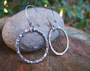 Hand Forged Hammered Sterling Silver Hoop Earrings