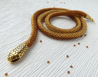 Snake Necklace Gold Necklace Beaded Necklace Charm Necklace Handmade Necklace Birthday Gift For Her Brown Necklace Gift Boho Necklace Ethnic
