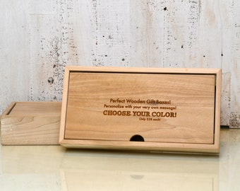 Wooden Keepsake Gift Box with Finish Color of Your Choice - Personalized Engraved Storage Box - Handmade Solid Wood Desktop Box