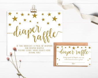 Twinkle Twinkle Little Star Diaper Raffle, Instant Download, Diaper Raffle Sign, Diaper Raffle Tickets, Diaper Raffle Card, Printable - SG1