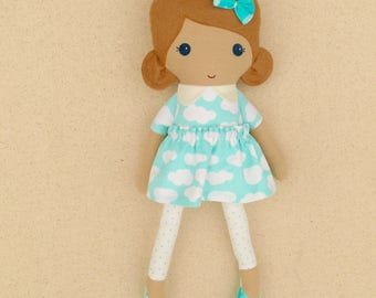 Fabric Doll Rag Doll Small 15 Inch Doll, Light Brown Haired Girl in Blue and White Cloud Print Dress
