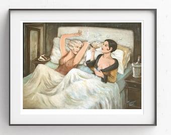 Vintage~Cake in Bed~Lesbian Art~Digital Art~Printable Art~INSTANT DOWNLOAD