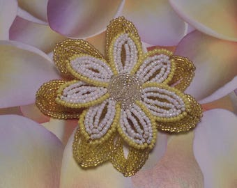 Large yellow and white flower brooch