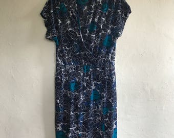 Vintage 80's Rose Print Dress Size 12