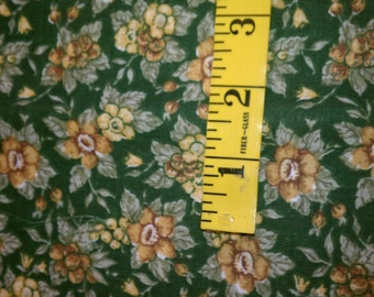 Dark Hunter Green with Gold Flowers and Berries Cotton Fabric 1 Yard (424E)