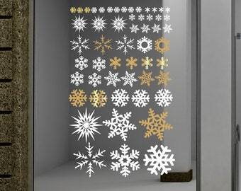 Snowflake decals, Gold snowflakes, Snowflake stickers, Holiday Stickers, Holiday Decals, Christmas Window decorations, Snowflakes for window