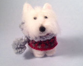 West highland white terrier wearing a winter sweater and scarf needlefelted wool figurine