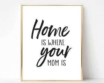 Home is Where Your Mom Is Digital Print | Best Mom Printable Gift | Best Mom Quote Gift | Mother's Day Gift | Mother's Day Quote