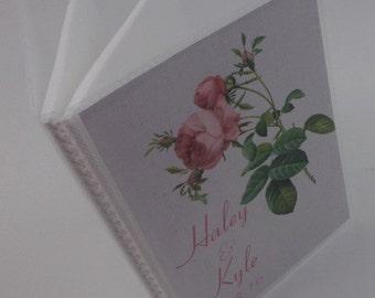 Wedding Photo Album Wedding album personalized photo album Custom photo book bridal shower gift 4x6 or 5x7 picture Pink Rose 279