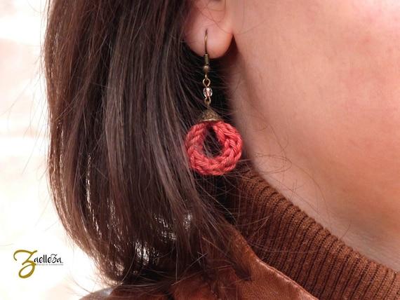 "Earrings coral brick / knit AGATA - ""Aurora BOREALIS."""