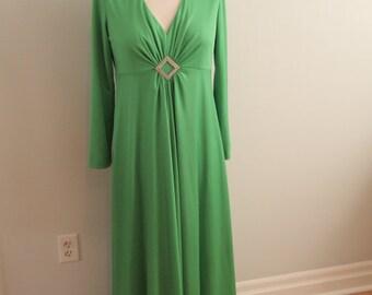 1970's Emerald Green Jersey Knit Evening Gown
