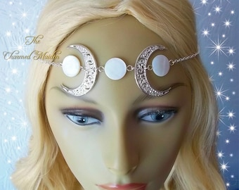 Silver & Mother of Pearl Triple Moon Headdress, Crescent Moon Headpiece, Wicca Moon Circlet, Pagan Moon Goddess Headpiece, Moon Phase Crown