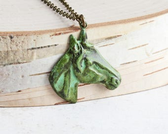 Hand Patina Horse Necklace, Aged Green Patina Brass Pendant on Antiqued Brass Chain, Animal Lover Gift, Country Jewelry